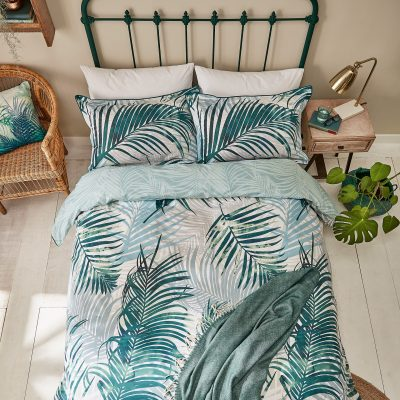 Palm leaf bed linen set - forest green