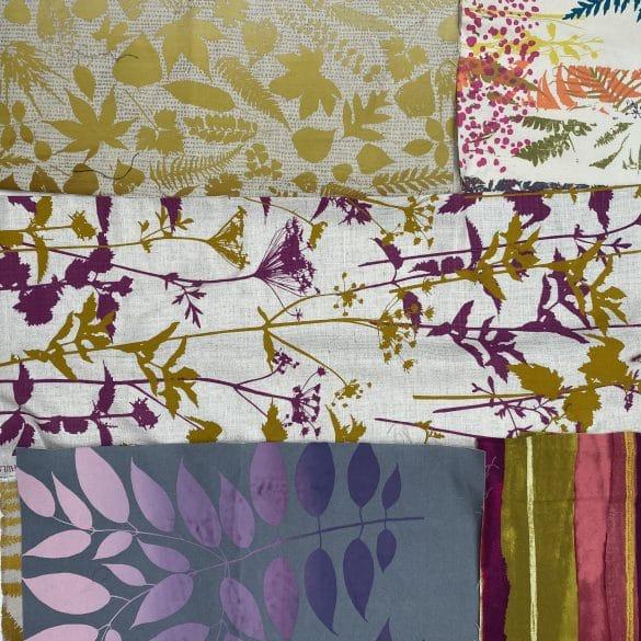 Fabric Piece Bag 423 - linen & cotton- turmeric / aubergiene